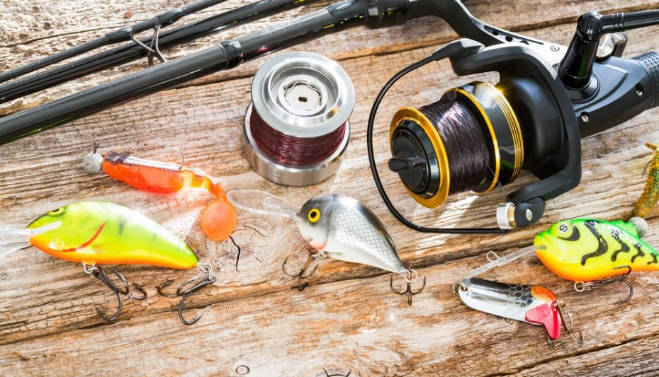 A spinning reel with bait