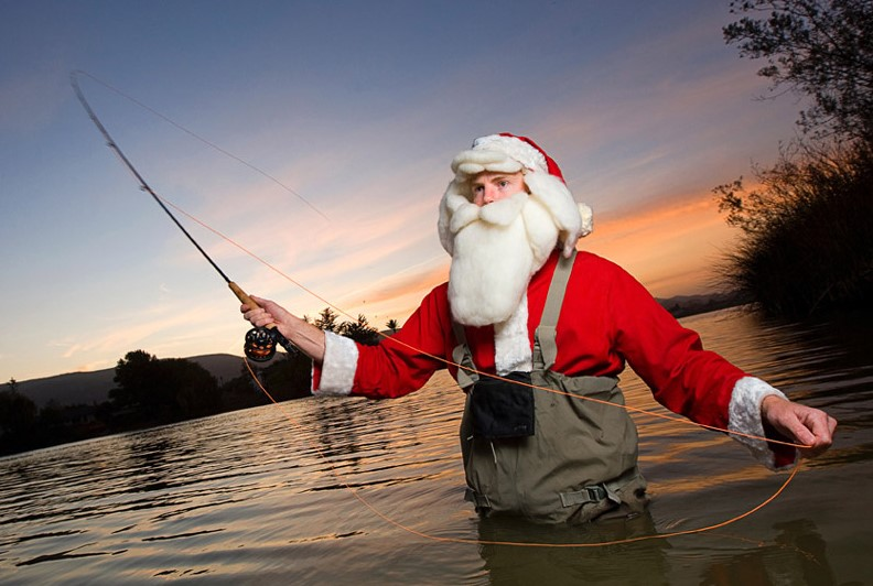 Santa for anglers in the water