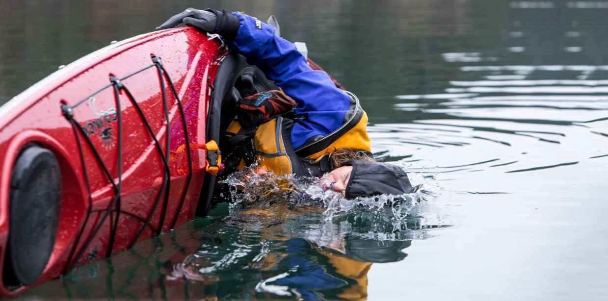 An overturned kayak